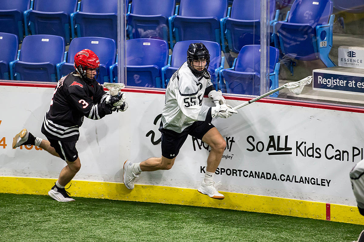 The Orangeville Northmen of Ontario have secured a spot in the finals of the Minto Cup nationals unfolding at the Langley Events Centre this week, with a victory over the Okotoks Raiders, 11-4, on Sunday. (Garrett James/Langley Events Centre)