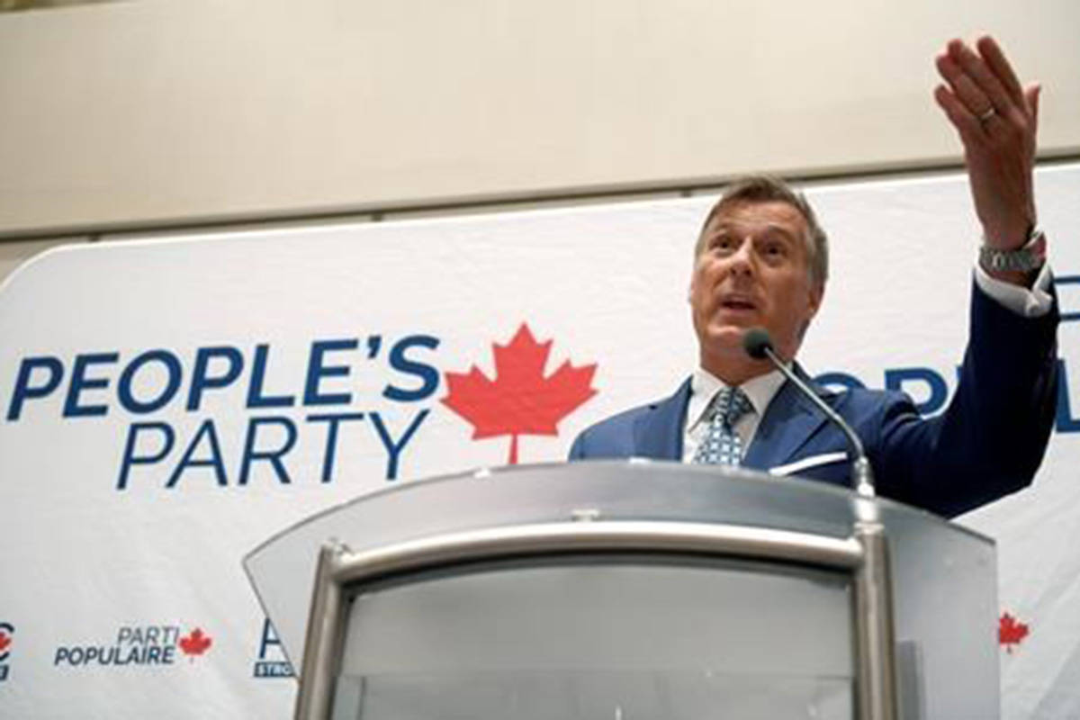 People's Party of Canada leader Maxime Bernier delivers an address at the PPC National Conference in Gatineau, Que. on Sunday, Aug.18, 2019. THE CANADIAN PRESS/Justin Tang