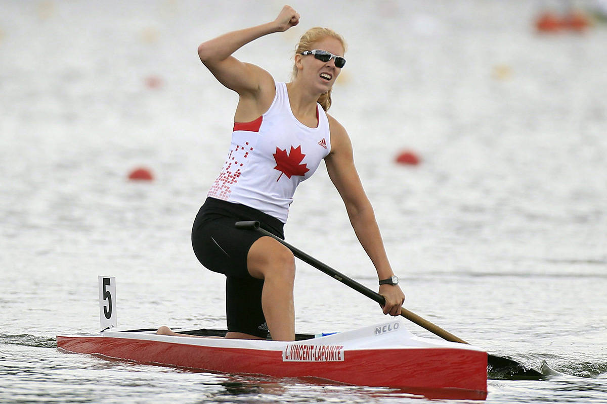 Canada's Laurence Vincent-Lapointe reacts after winning the C1 Women 200m final during the Canoe Sprint World Championships in Duisburg, Germany, on Aug. 31, 2013. Canadian athlete Laurence Vincent-Lapointe has returned a positive test to a banned substance and has been provisionally suspended, meaning the 11-time world champion will not be competing at this week's ICF Canoe Sprint World Championships in Szeged, Hungary. THE CANADIAN PRESS/AP, Frank Augstein