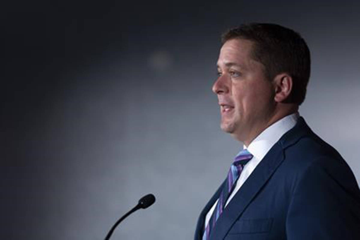 Conservative Leader Andrew Scheer speaks at a press conference at Hotel Saskatchewan in Regina, Saskatchewan on Wednesday August 14, 2019. Conservative Leader Andrew Scheer is arguing that the federal ethics commissioner's stinging conclusions about Justin Trudeau's handling of the SNC-Lavalin affair appear to align with a criminal offence. THE CANADIAN PRESS/Michael Bell
