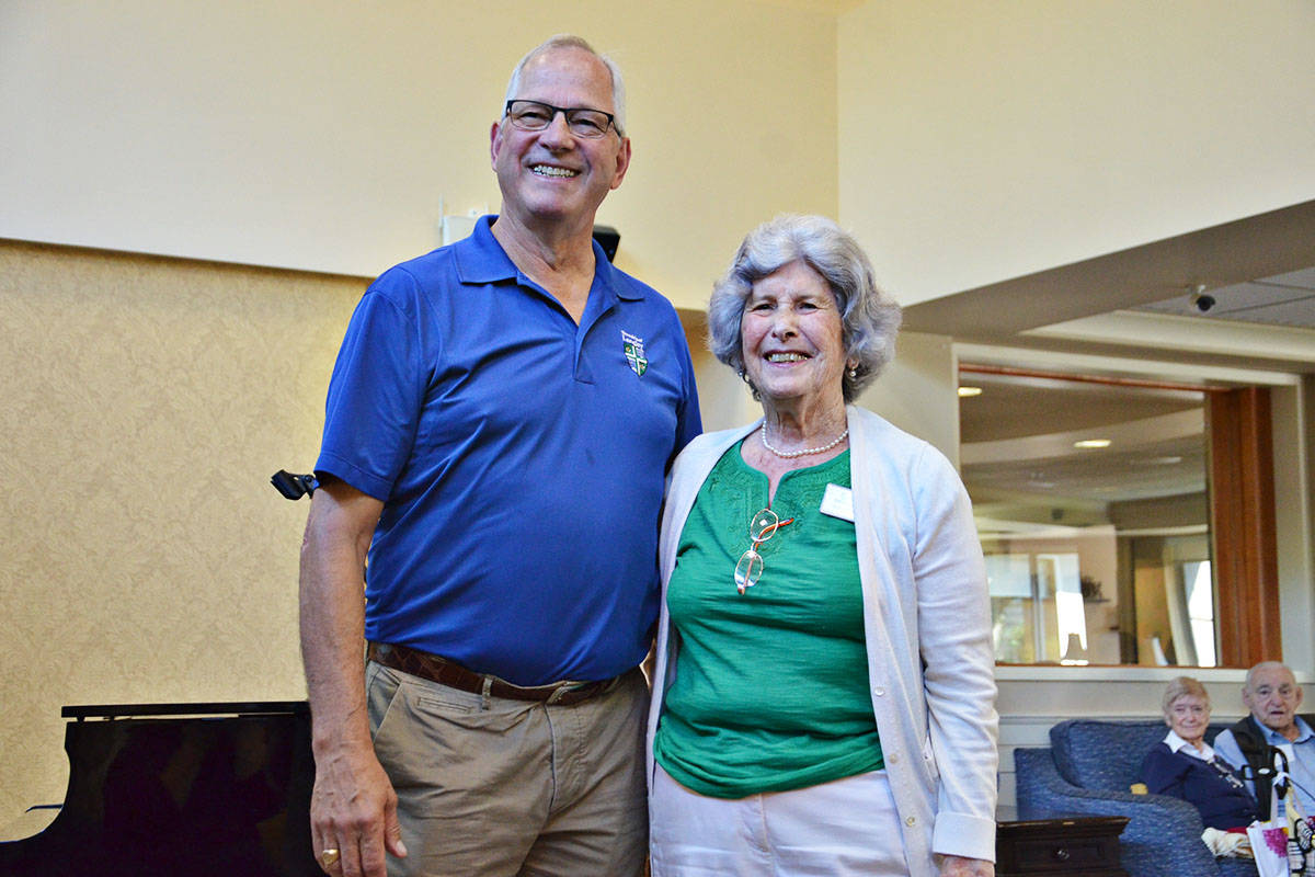 Township Mayor Jack Froese thanked Walnut Grove area seniors, such as Shirley Browne, who were part of a pilot program to make businesses more age friendly. (Heather Colpitts/Langley Advance Times)