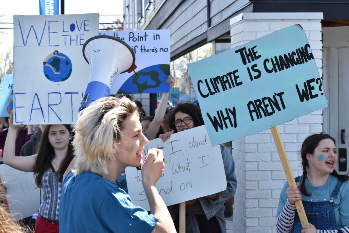 Hundreds of students and supporters made their way down to downtown Courtenay in May to protest climate change. (Black Press Media files)
