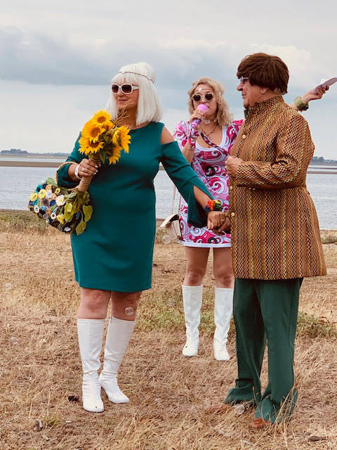 White Rock's James Rockwell and his wife Lidia got married at Crescent Beach on Saturday in a Woodstock-themed wedding. (Contributed photos)