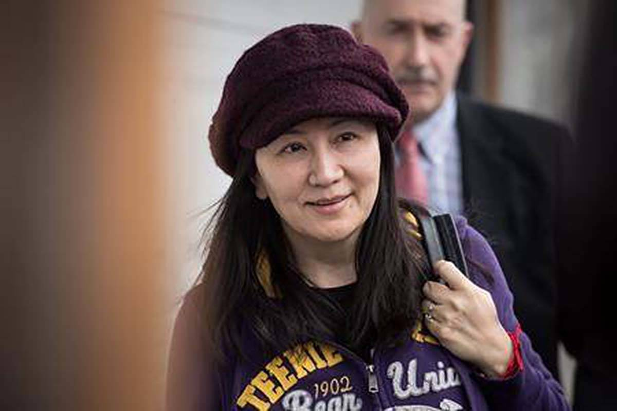 Huawei chief financial officer Meng Wanzhou arrives home after a court appearance in Vancouver, on Wednesday March 6. (THE NEWS/files)