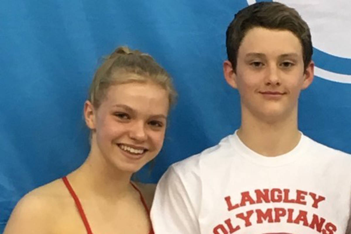 Langley Olympians Swim Club swimmers Bailey Herbert and Hugh McNeill attended the 2019 Canadian Swimming Championships. (Langley & Abbotsford Olympians Swim Club/Special to the Langley Advance Times)