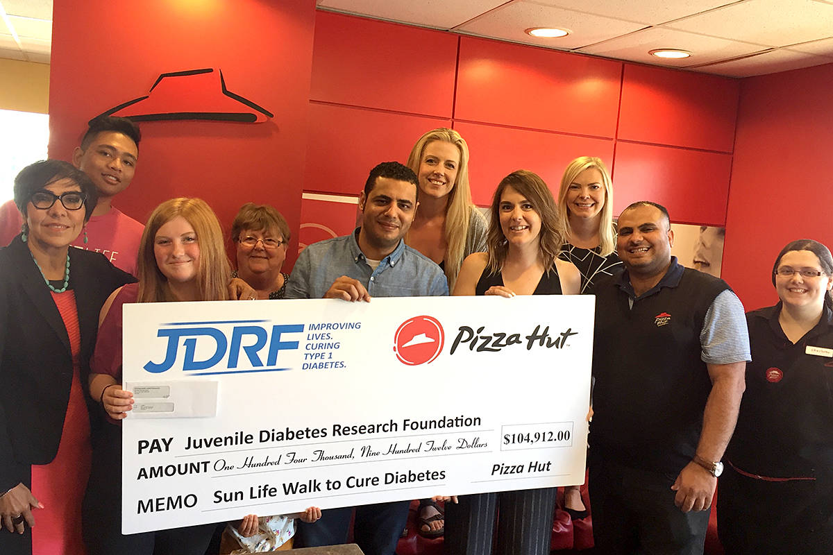 Battling Diabetes: Langley's Pizza Hut restaurants raised more than $3,300 for the 2019 Sun Life Walk to Cure Diabetes. It was part of a province-wide tally of almost $105,000 donated to the Juvenile Diabetes Research Foundation. (Special to the Langley Advance Times)