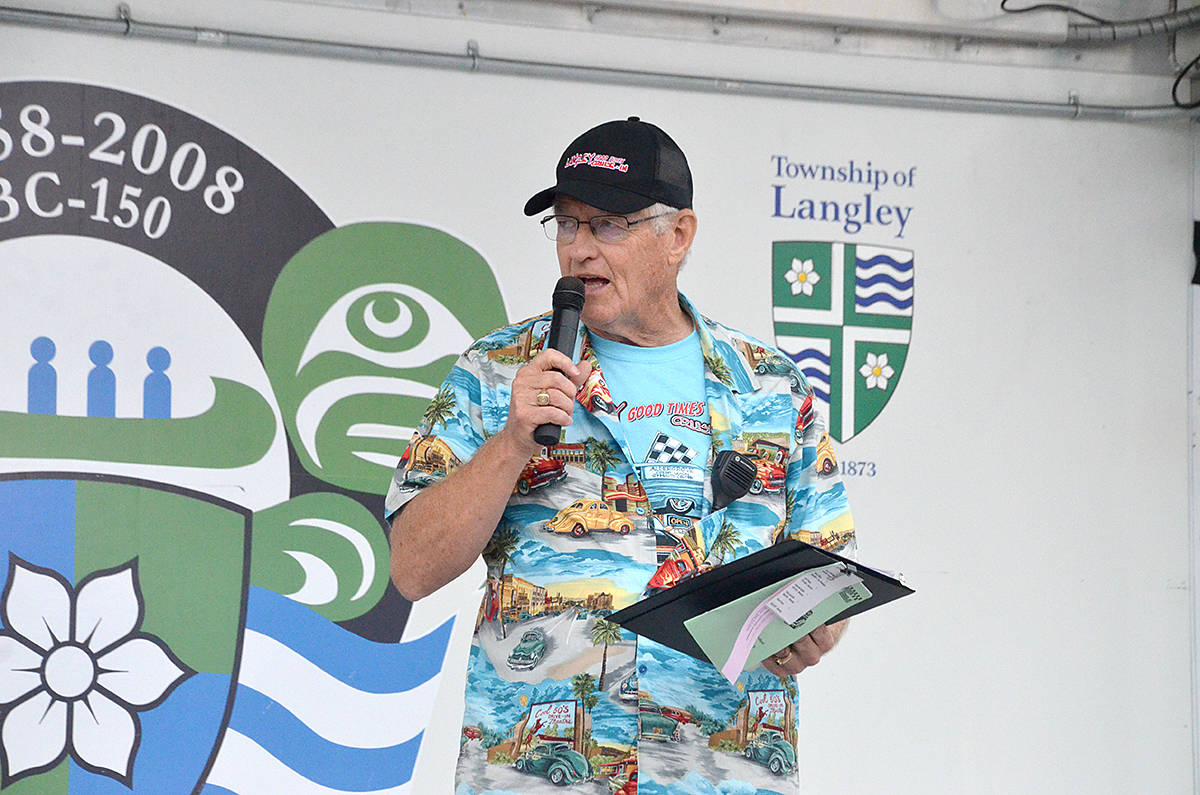 Even the Cruise-In emcee, retired fire chief turned Langley Advance Times columnist, Jim McGregor is a return volunteer for this annual charity car show. (Langley Advance Times files)
