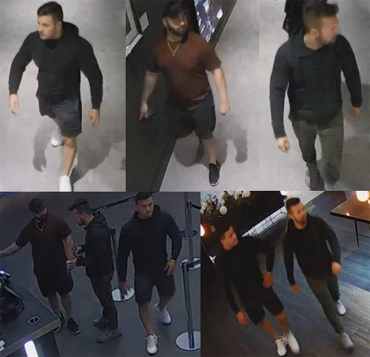 West Vancouver police are asking the public to help identify these three men in connection with a Cineplex theatre being damaged at Park Royal Shopping Centre on Aug. 16. (West Vancouver Police Department)