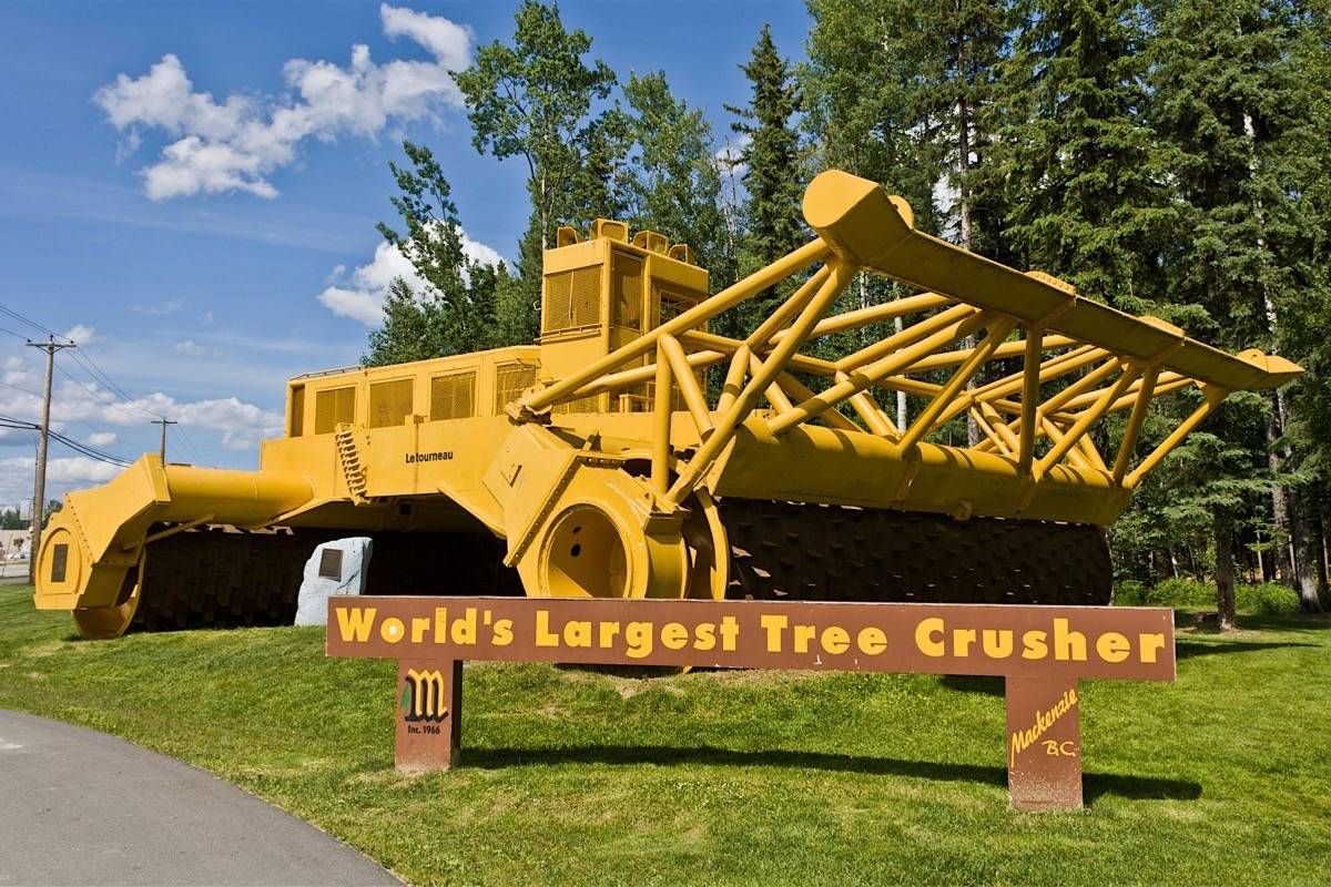 Giant tree crusher left behind after the construction of the W.A.C. Bennett Dam is landmark that greets visitors coming into Mackenzie, a community north of Prince George established in the 1960s as a forest industry centre. (Wikimedia Commons)