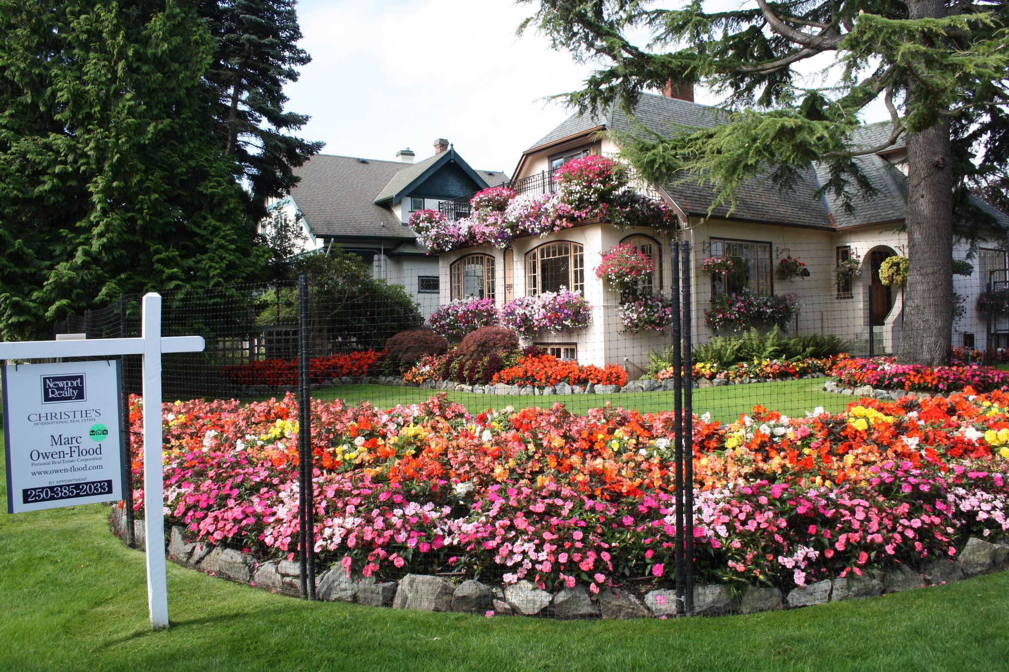 The 'Tulip House' at Beach Drive and Dalhousie Street is for sale for $1.4 million. The Flemings, Bob and Jan, planted 12,000 tulips this year and then replaced them with begonias. (Travis Paterson/News Staff)