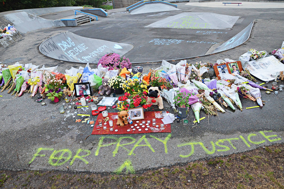 Hundreds of bouquets, messages, and emergency hotline numbers have been left at the Walnut Grove Skate Park in recent weeks, after the Aug. 7 death of Carson Crimeni. (Matthew Claxton/Langley Advance Times)