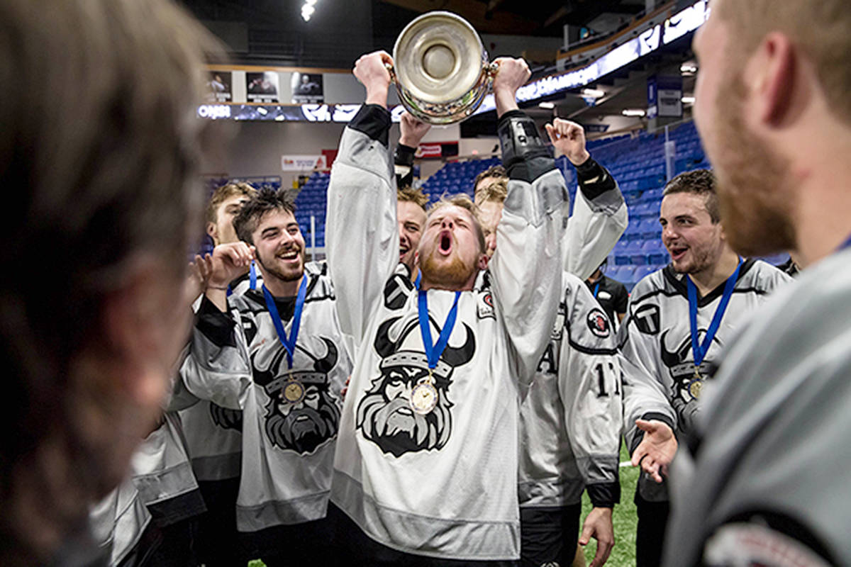 Orangeville Northmen celebrate winning the 2019 Minto Cup after defeating the Victoria Shamrocks at Langley Events Centre. (Garrett James photo)