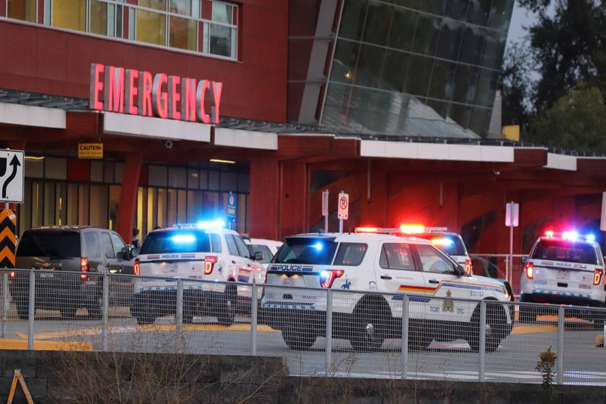 Police on scene at Surrey Memorial Hospital Friday night (Aug. 23). (Photo: Shane MacKichan)