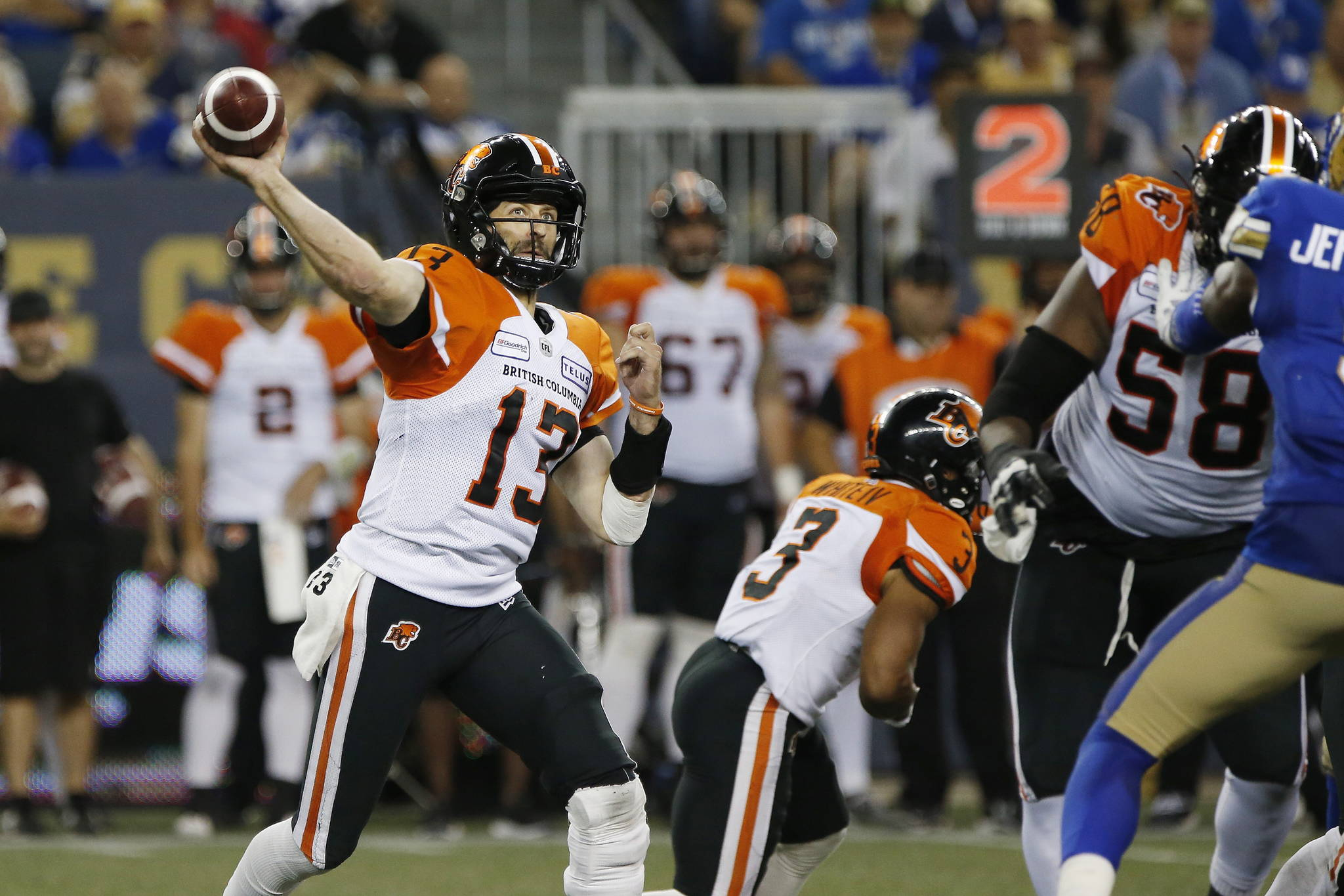 The B.C. Lions are looking to snap a five-game losing skid this weekend, but the task will be tough as they go up against one of the league's top teams. BC Lions quarterback Mike Reilly (13) throws against the Winnipeg Blue Bombers during the second half of CFL action in Winnipeg Thursday, Aug. 15, 2019. THE CANADIAN PRESS/John Woods