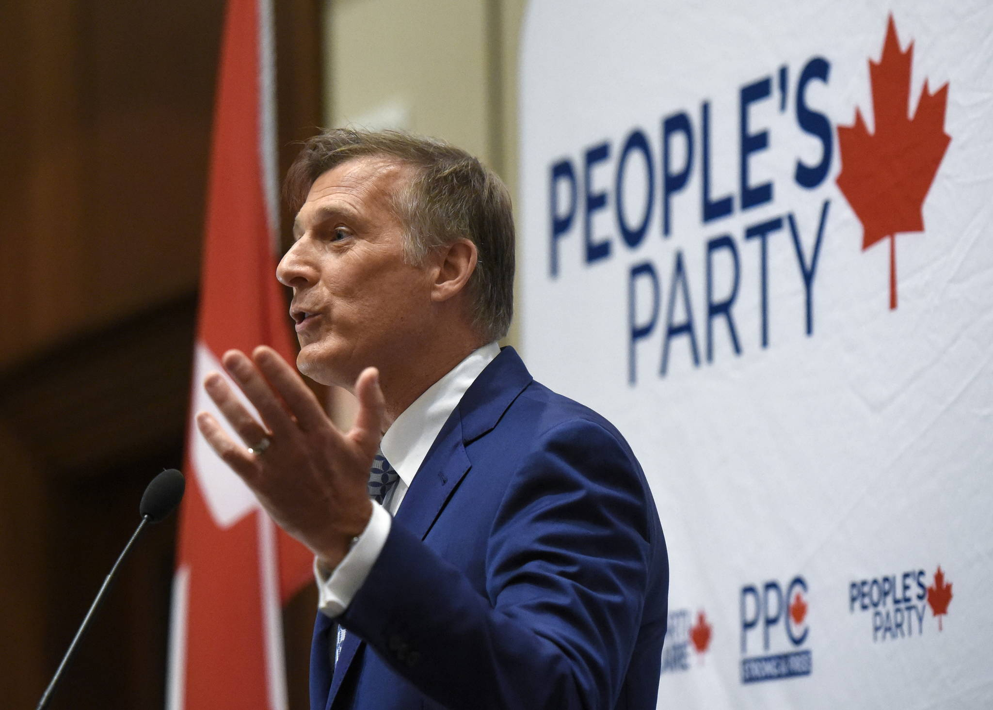 People's Party of Canada leader Maxime Bernier delivers an address at the PPC National Conference in Gatineau, Que. on Sunday, Aug. 18, 2019. THE CANADIAN PRESS/Justin Tang
