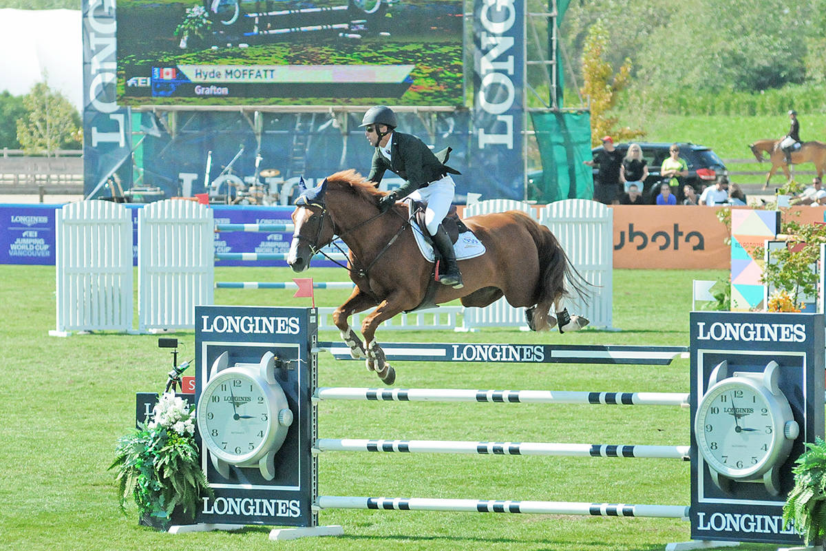 Canadian Hyde Moffat cleared a barrier at the Longines FEI Jumping World Cup at Thunderbird Show Park in Langley. (Dan Ferguson/Langley Times)