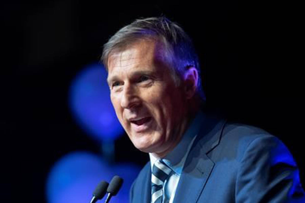 "Maxime Bernier, leader of the People's Party of Canada, speaks at the launch of his campaign Sunday, August 25, 2019 in Sainte-Marie, Que. Bernier is blaming a ""totalitarian leftist mob"" for the decision to take down billboards promoting his controversial stance on immigration.THE CANADIAN PRESS/Jacques Boissinot"