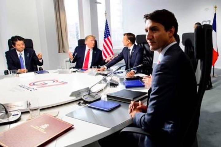 Prime Minister Justin Trudeau takes part in an working session at the G7 Summit in Biarritz, France on Monday, Aug. 26, 2019. THE CANADIAN PRESS/Sean Kilpatrick