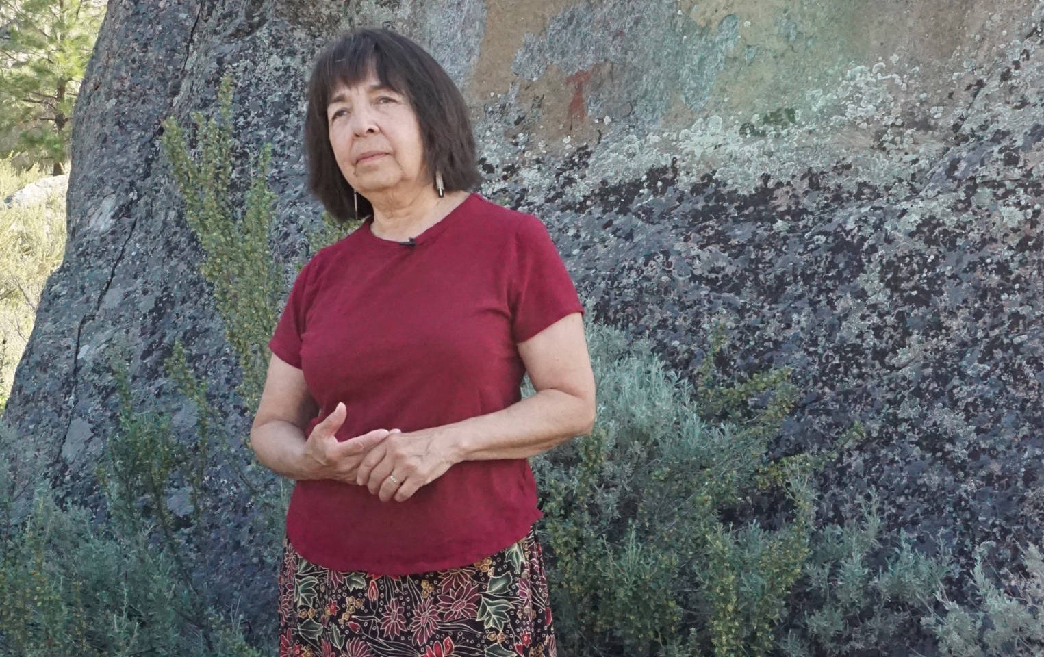 Sheri Stelkia, an elder in the Osoyoos Indian Band, shares stories with visitors stories about how the Okanagan people were self-reliant and well provided for through their own ingenuity.