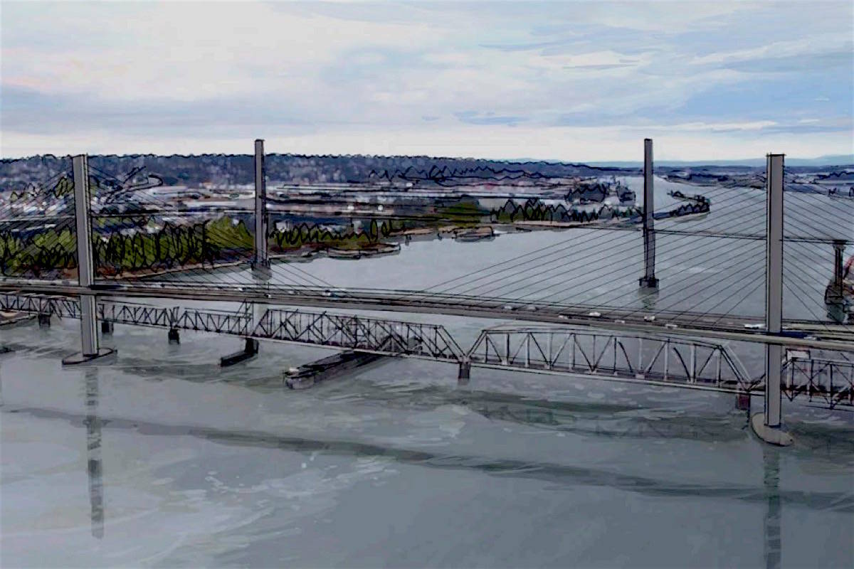 Sketch of new Pattullo Bridge, which is to be build upstream of the existing 80-year-old span. (Ministry of Transportation and Infrastructure)