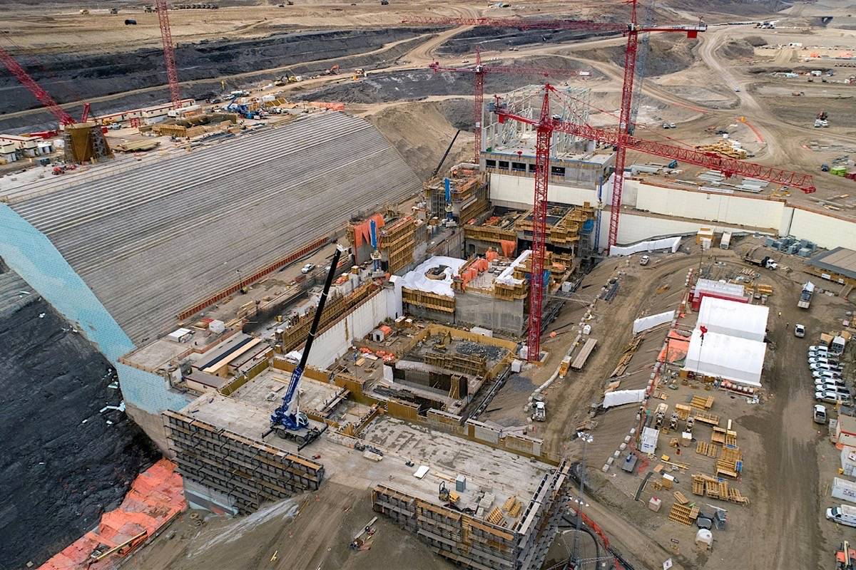 Powerhouse and water intakes under construction at Site C dam project in northeast B.C., spring 2019. (B.C. Hydro)