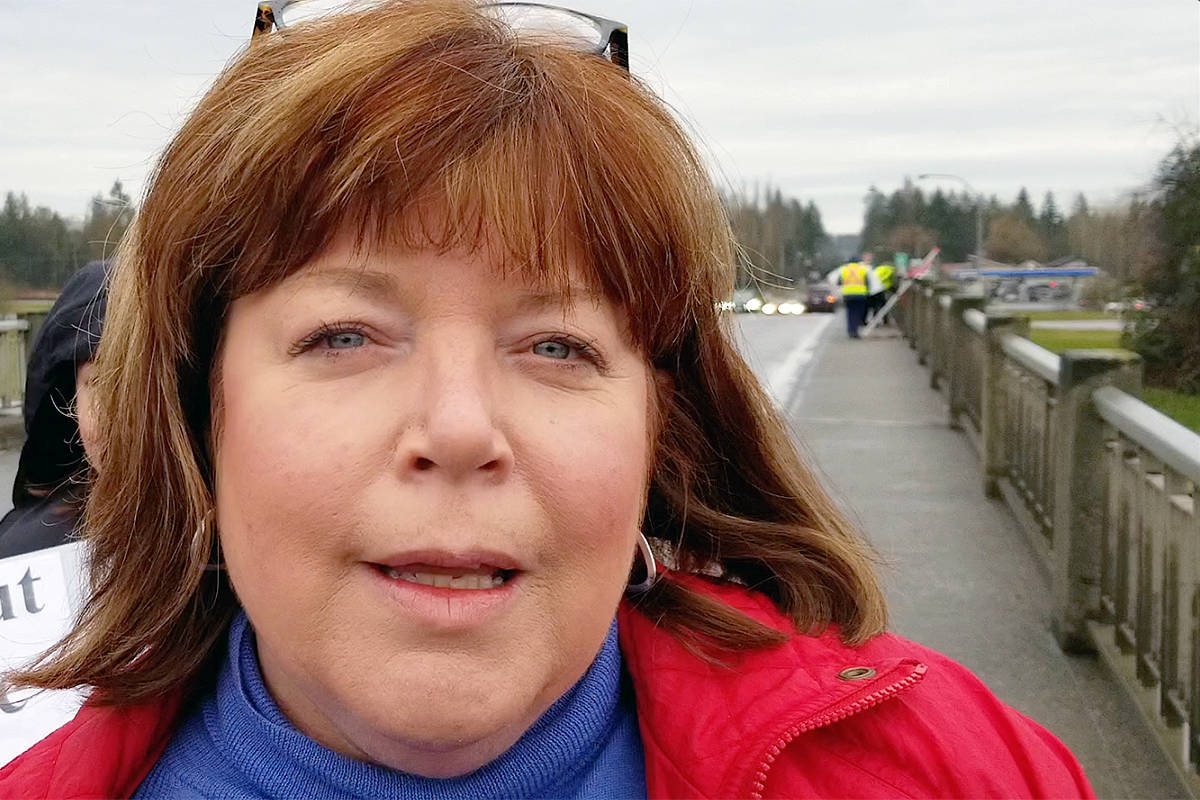 Kari Simpson, seen at a protest over immigration laws last year. (Black Press Media)