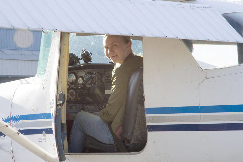 Roberta Grimard took the Aviation Explorations 12 course at the Langley Education Centre in autumn of 2018 and on Wednesday, got to go flying as part of the course. (David Thomas/Special to the Langley Advance Times)