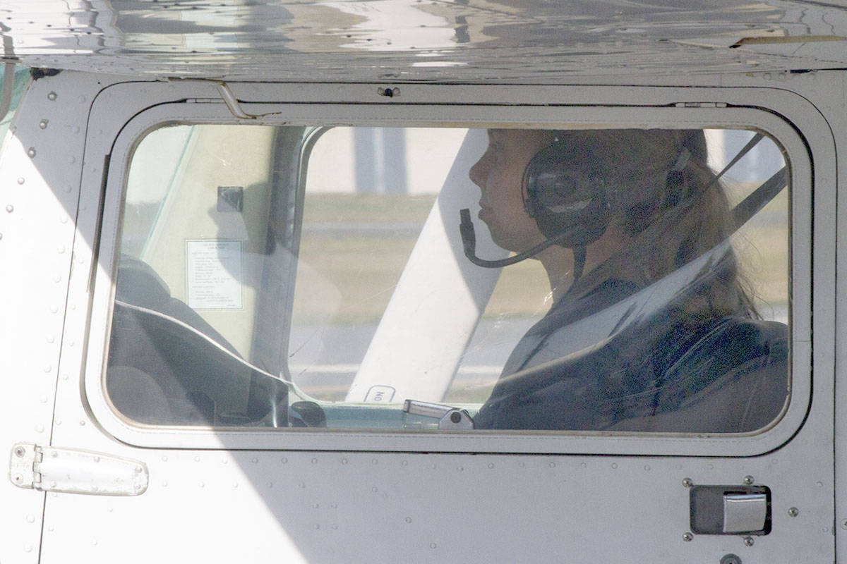 Roberta Grimard took the Aviation Exporations 12 course last autumn. As part of the course, she went on a flight on Wednesday. (David Thomas/Special to the Langley Advance Times)