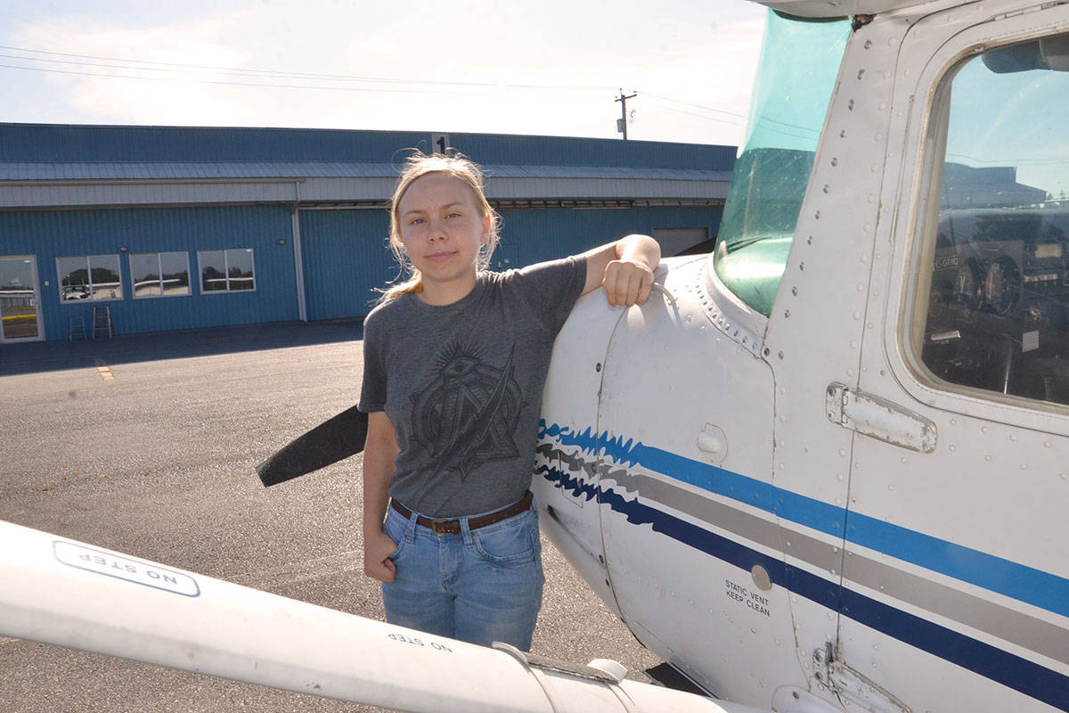 Roberta Grimard took the Aviation Explorations 12 course at the Langley Education Centre in autumn of 2018 and on Wednesday, got to go flying as part of the course. (Heather Colpitts/Langley Advance Times)