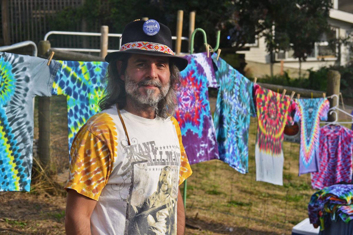 Jim Bozin, new to Aldergrove, sold his tie-dye shirt creati0ns during the festival. (Sarah Grochowski photo)
