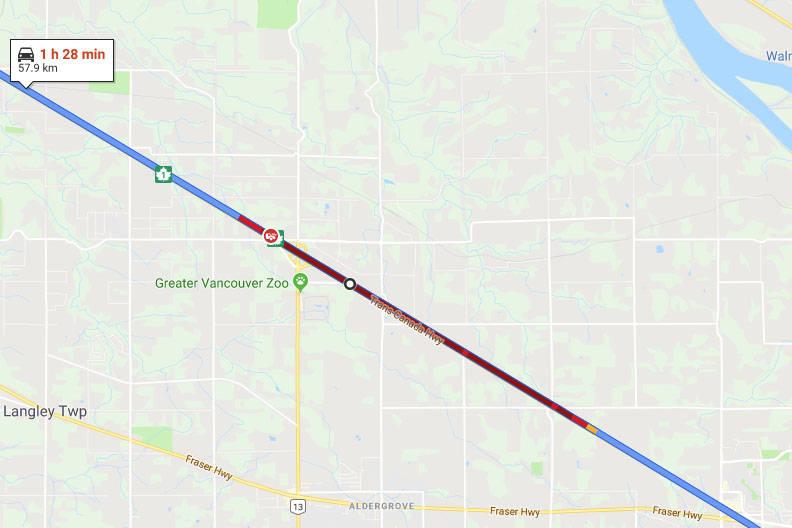 Vehicle collision west-bound on Highway 1