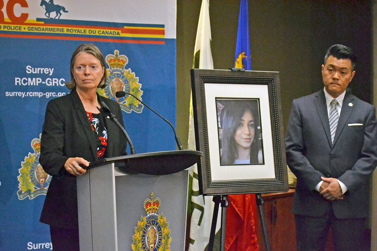 IHIT Supt. Donna Richardson announces charges against Harjot Singh Deo, in connection with Bhavkiran Dhesi's August 2017 death. Deo's sister, mother, brother and another man (Talwinder Khun Khun) are charged with 'accessory after the fact.' His brother and Khun Khun are also facing an additional charge of indecently interfere with or offer indignity to human remains.' (File photo)
