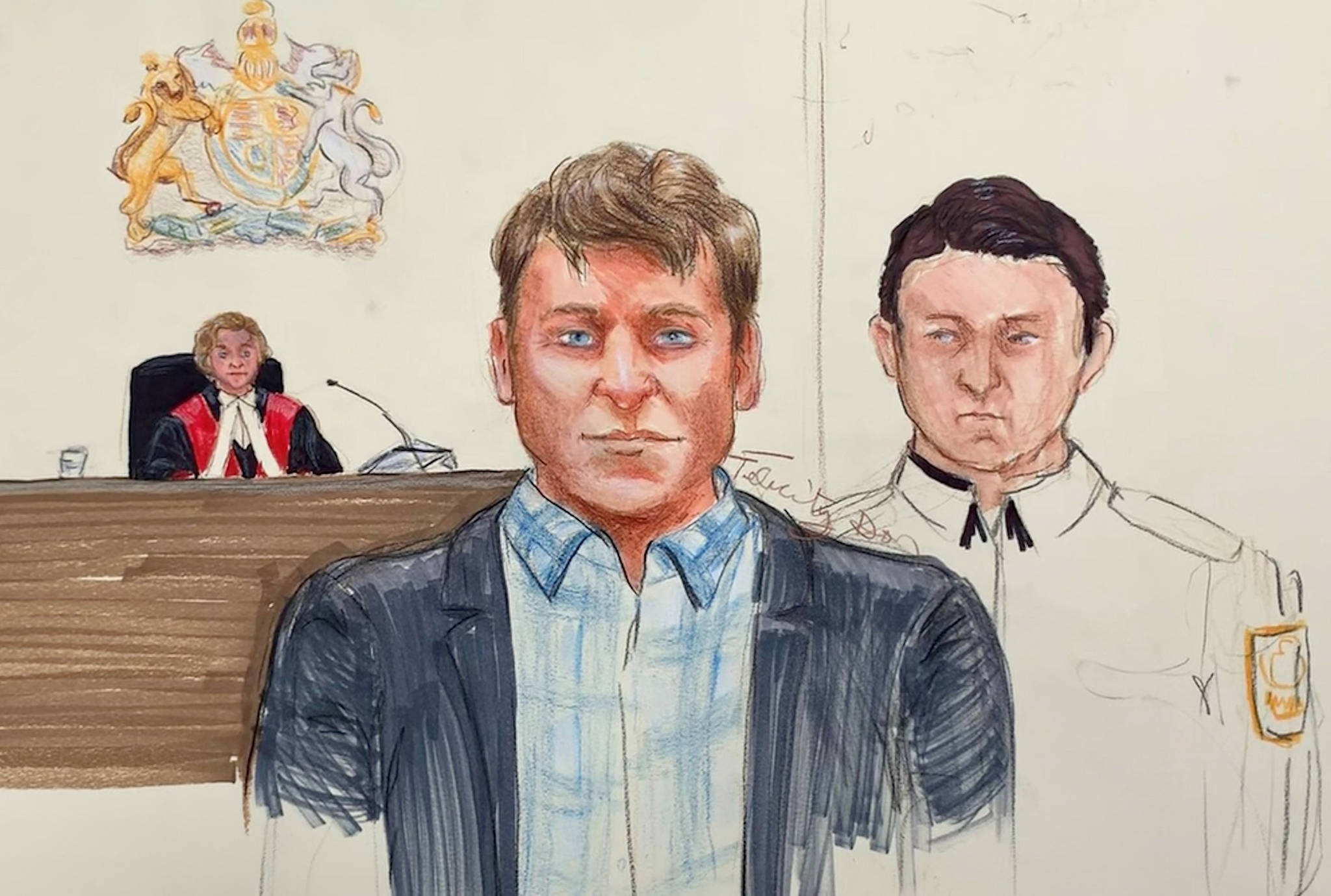 Andrew Berry, centre, appears in B.C. Supreme Court in Vancouver on Tuesday, April 16, 2019. A Crown lawyer says a Vancouver Island father stabbed his young daughters dozens of times before attempting to kill himself on Christmas Day in 2017. Clare Jennings delivered her opening statement to a B.C. Supreme Court jury in Vancouver at the start of the trial for Andrew Berry, who has pleaded not guilty to two counts of second-degree murder. THE CANADIAN PRESS/Felicity Don