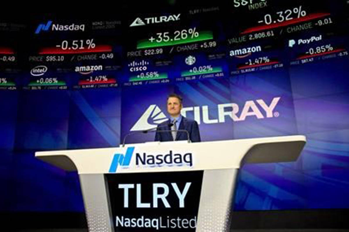 Brendan Kennedy, CEO and founder of British Columbia-based Tilray Inc., a major Canadian marijuana grower, poses before closing Nasdaq, where his company's IPO (TLRY) opened, Thursday, July 19, 2018, in New York. Tilray Inc. says it has signed a deal to acquire Alberta cannabis retailer Four20 in an agreement valued at up to $110 million.THE CANADIAN PRESS/AP/Bebeto Matthews