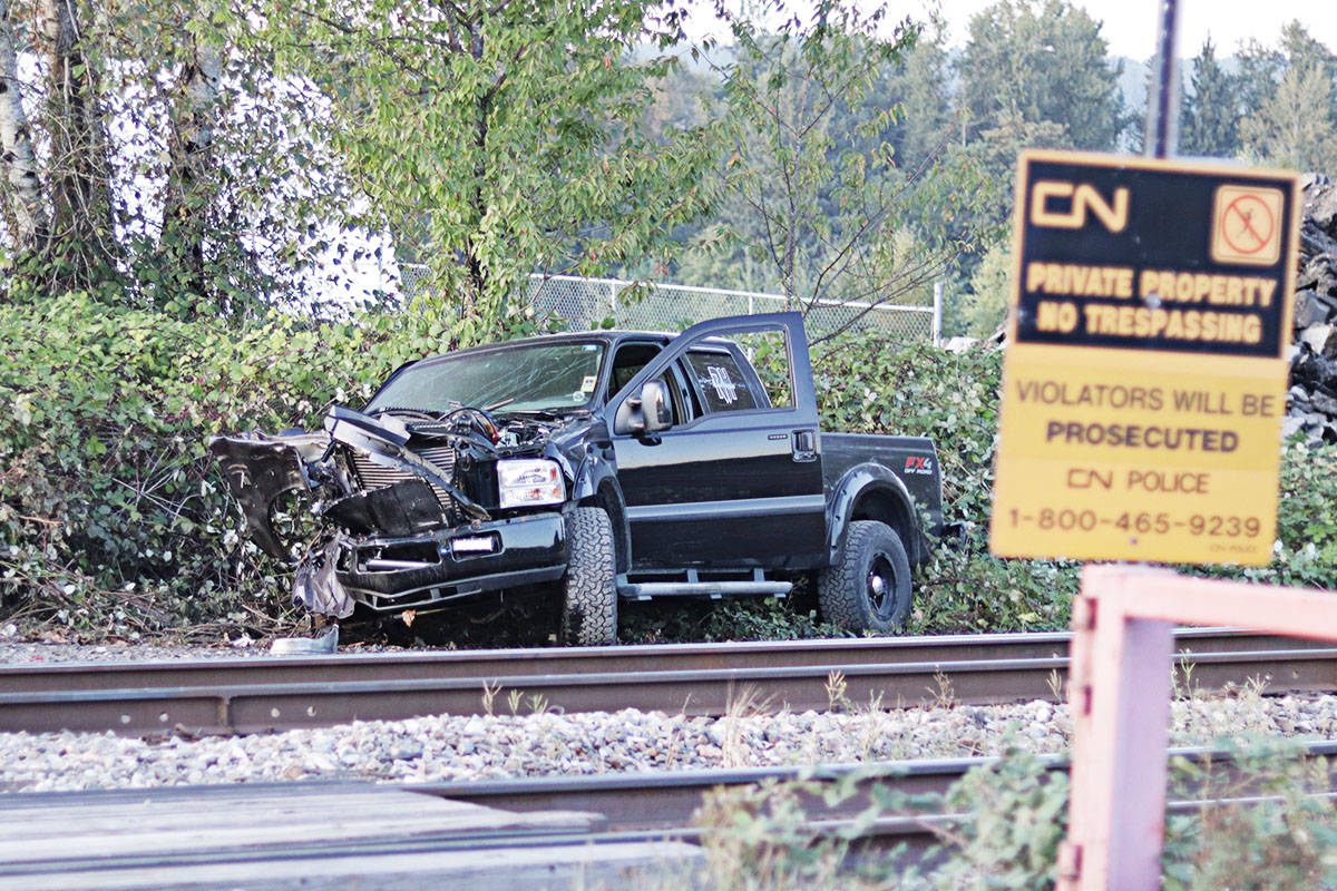 A pickup truck was destroyed after it collided with a CN Rail train on Wednesday afternoon east of Fort Langley. (Photos Rob Wilton/RJ Media 2019)