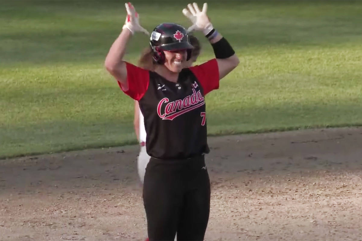 Jennifer Salling celebrates after a two-run shot Wednesday evening against Puerto Rico. (WBSC video screengrab)