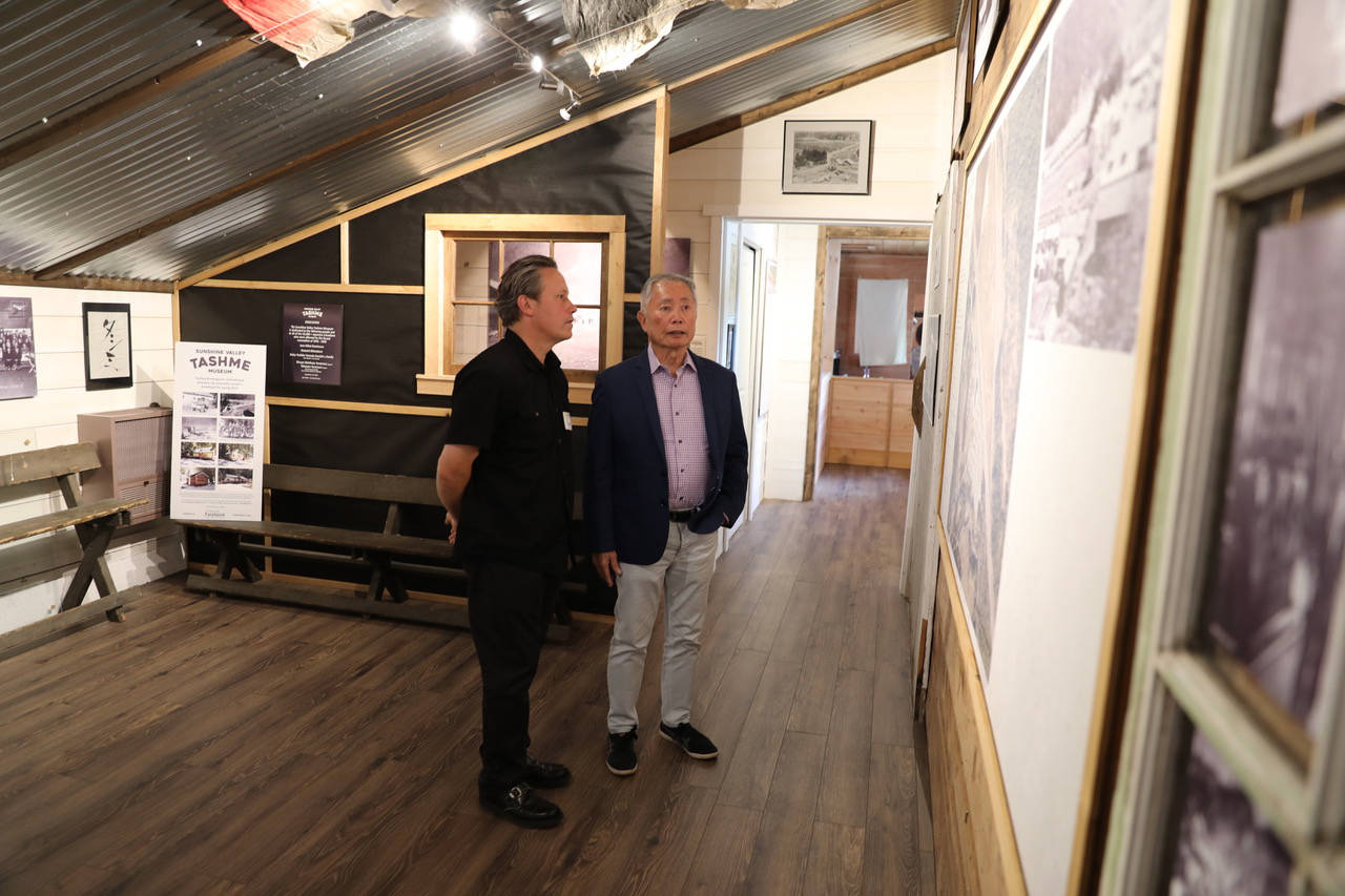 George Takei (right) during a tour of the Tashme Museum in Hope. (Brian Dodd/Contributed)