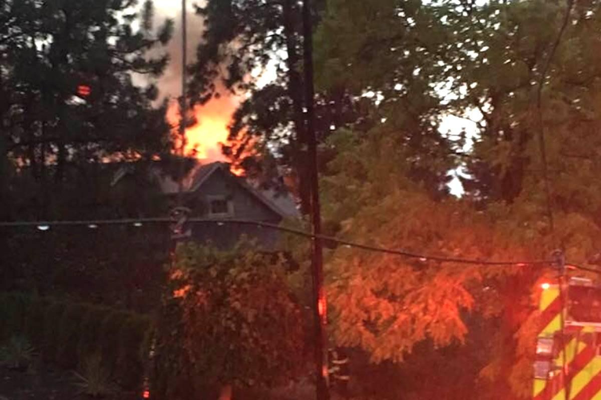 Lightning strikes Peachland home, sparking fire