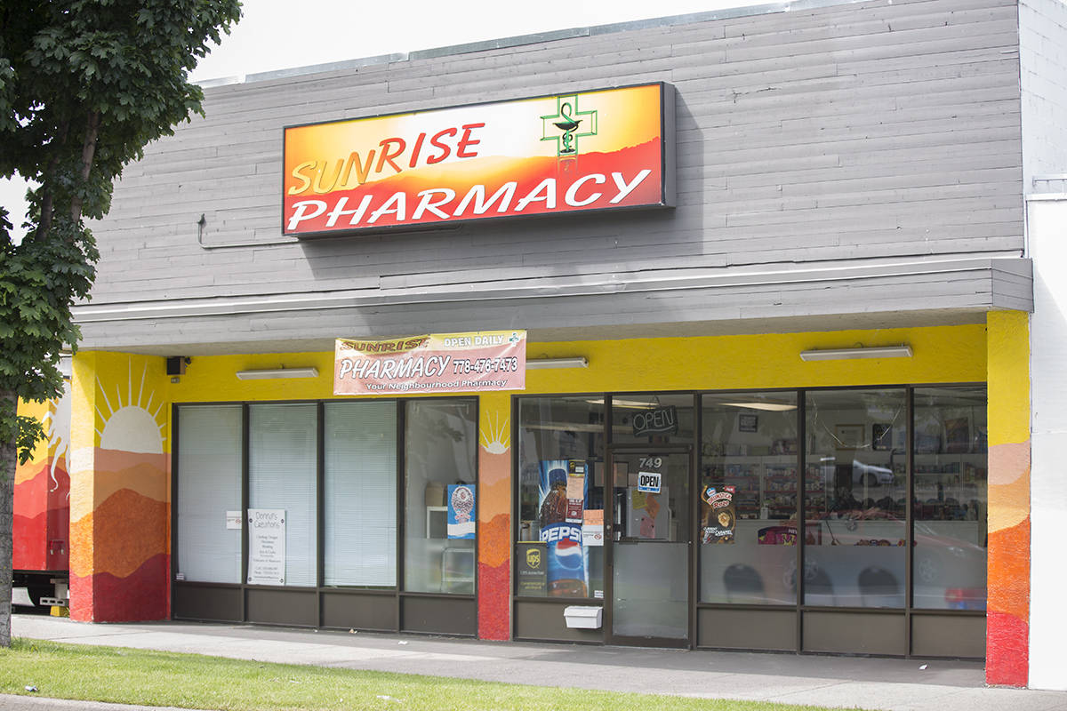 A B.C. College of Pharmacists order restricts Sunrise Pharmacy on Main Street from dispensing any narcotic or controlled drug substance intended for opioid agonist treatment. Pharmacy owner Joelle Mbamy has filed a court petition to have the order quashed. (Robin Grant - Western News)
