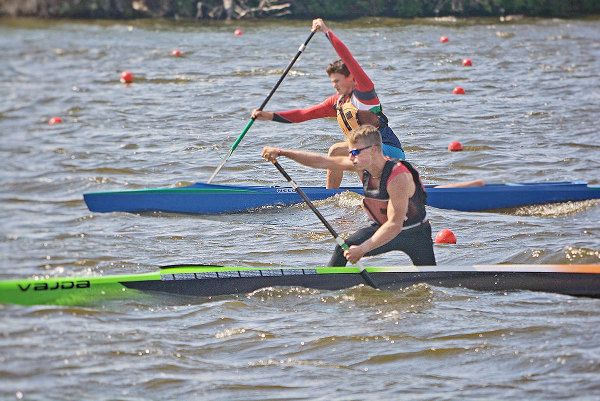 Langley's Quinn Thomson, in foreground, who paddled for False Creek Racing Canoe Club, achieved a bronze medal in the U16 Men's 6,000 metre race at Canoe Kayak Canada's Sprint National Championships (Larissa Thomson/Special to Langley Advance Times)