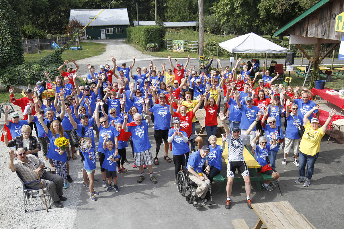 More than 130 walkers came out to attend the first annual Parkinson's SuperWalk at Aldor Acres on Saturday, Sept. 7. (Gail Anderson-Macadam/Special to the Langley Advance Times)