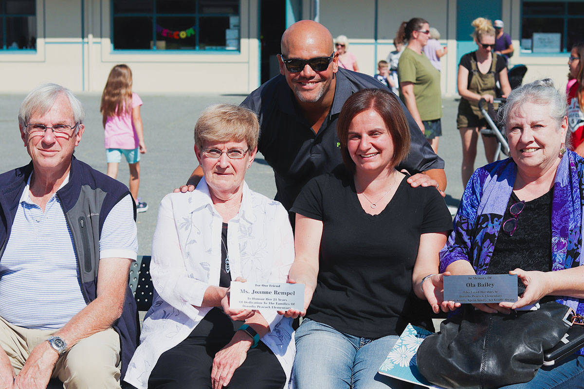 Taking part in the grand opening were Edward Bailey (Ola Bailey's father), Joanne Rempel (retired principal of Dorothy Peacock), Shawn Davids (current principal of Dorothy Peacock), Tanya McLachlan (previous PAC president), and Deb Bailey (Ola Bailey's mother). (Anthony Biondi/Langley School District)
