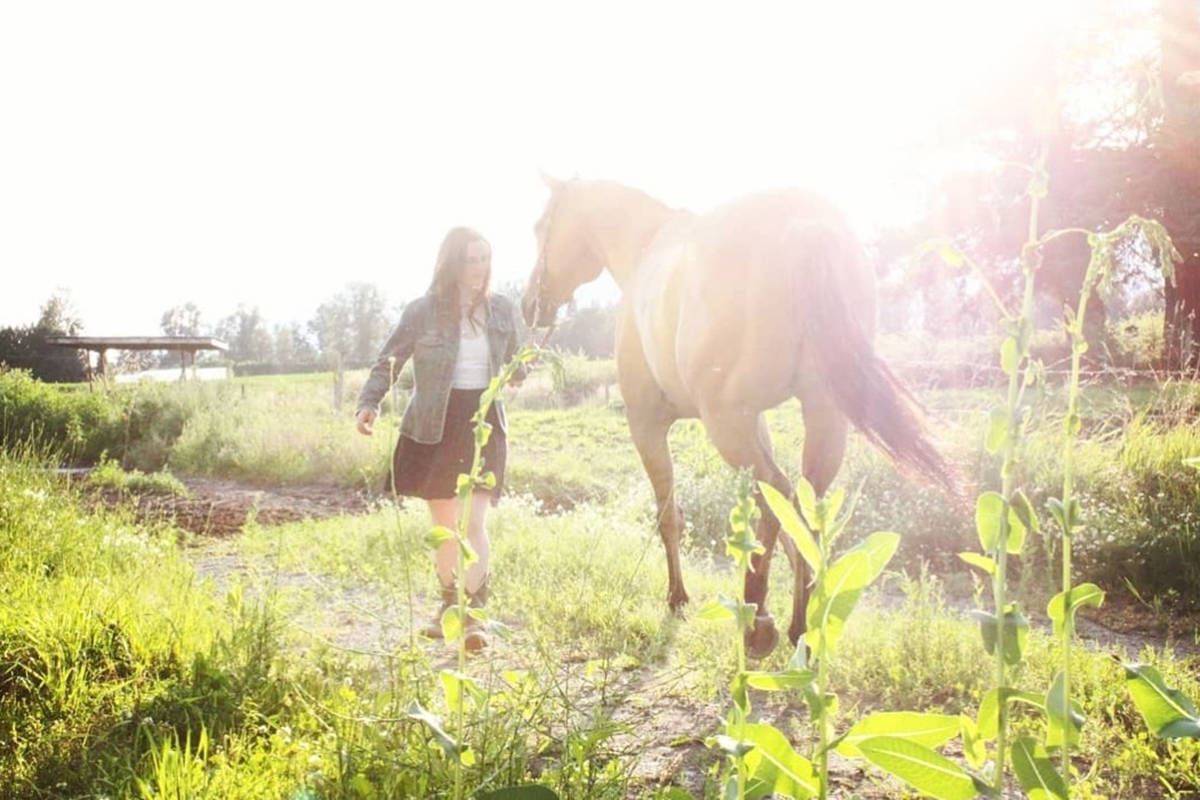 Fifteen-year-old Layla Thomson and her horse Conrad who was struck and killed by lightning in the thunderstorms in Chilliwack overnight Sept. 7/8. (Submitted)