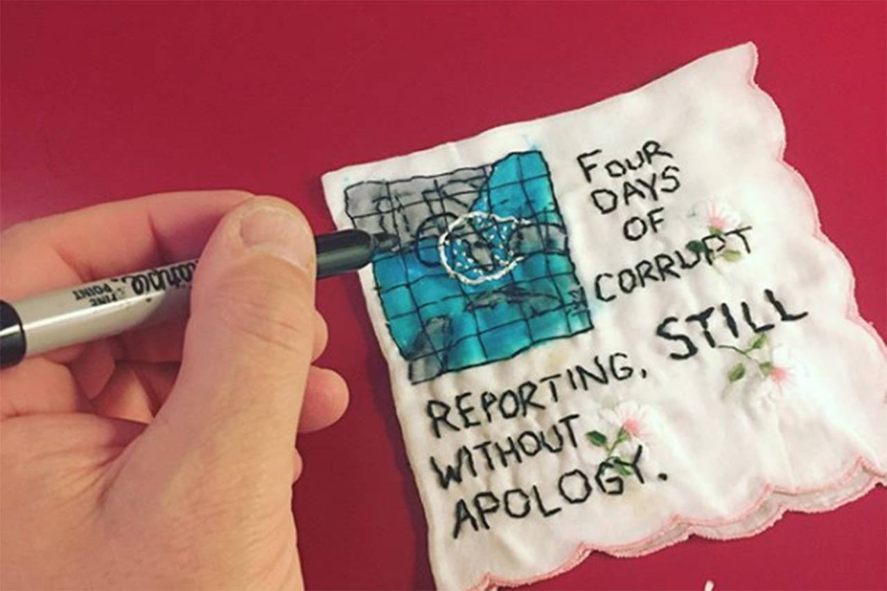A piece of stitch work recently done by Diana Weymar, referring to a Sept. 1 incident where U.S. President Donald Trump erroneously reported the path of Hurricane Dorian, later pointing to a map which showed the hurricane's path extended with what appeared to be a line from a Sharpie. Days later, Trump tweeted that corrupt reporters still hadn't apologized for the Sharpie comments. (Instagram/ @TinyPricksProject)