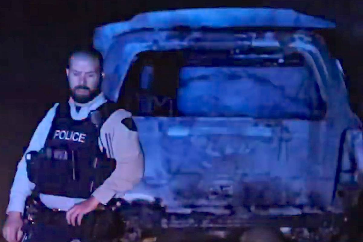 A burned out vehicle was found in southwest Abbotsford shortly after the shooting in Aldergrove. (Shane MacKichan YouTube video)