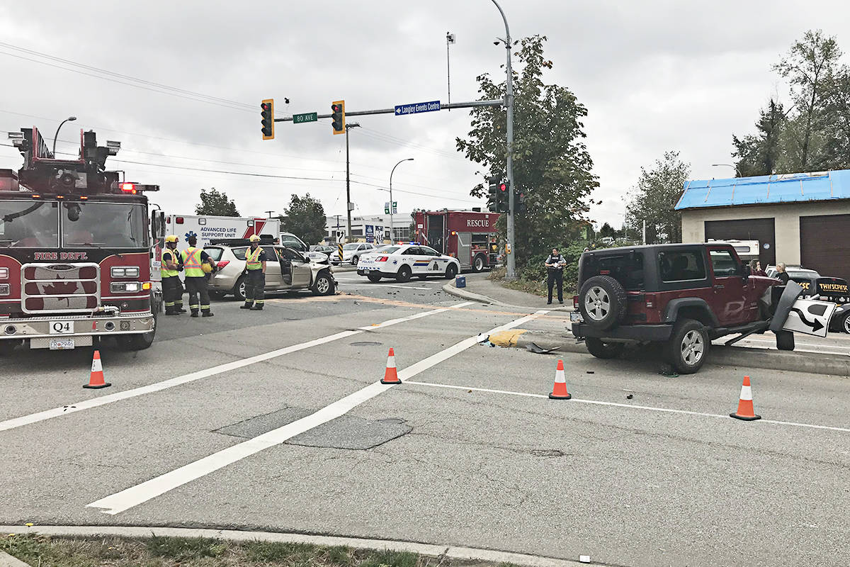 Three cars, including the two seen here, crashed at 80th Avenue and 200th Street on Wednesday morning. (Matthew Claxton/Langley Advance Times)