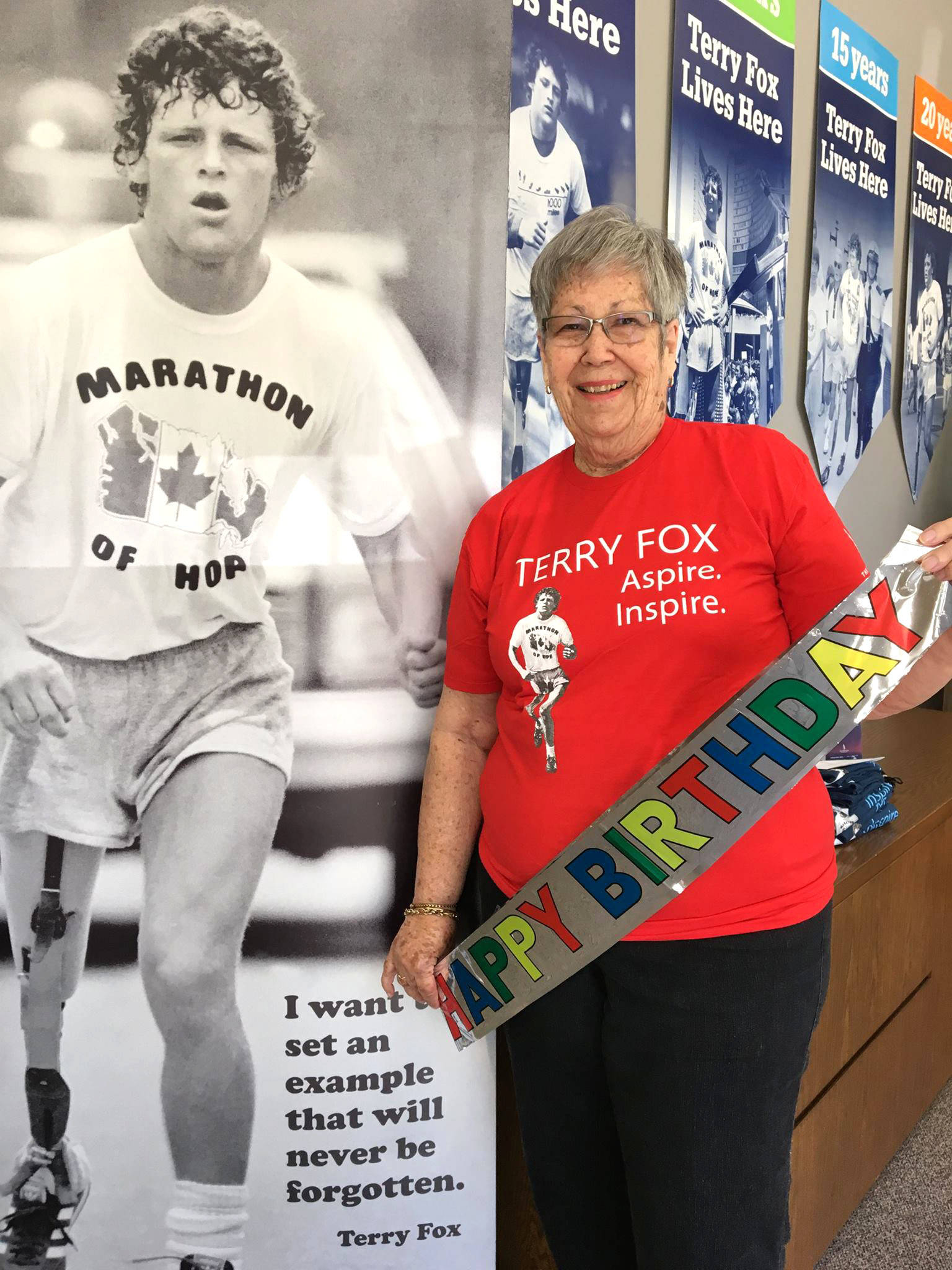 On Sept. 12, 2019 Alison Ince celebrates her 84th birthday. Ince is wearing a red T-shirt like many do at the annual Terry Fox run to celebrate their victory against cancer. Ince was Terry Fox's nurse when he was a patient at Royal Columbian Hospital in New Westminster. (Terry Fox Foundation/Facebook)