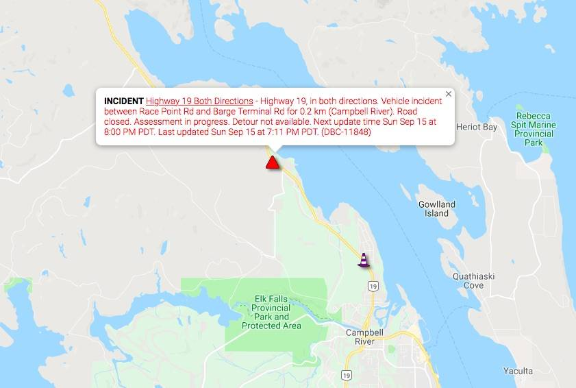 A screenshot from DriveBC of the warning about the collision on Highway 19 between Race Point and Barge Terminal Roads north of Campbell River on Sept. 15, 2019. (DriveBC)