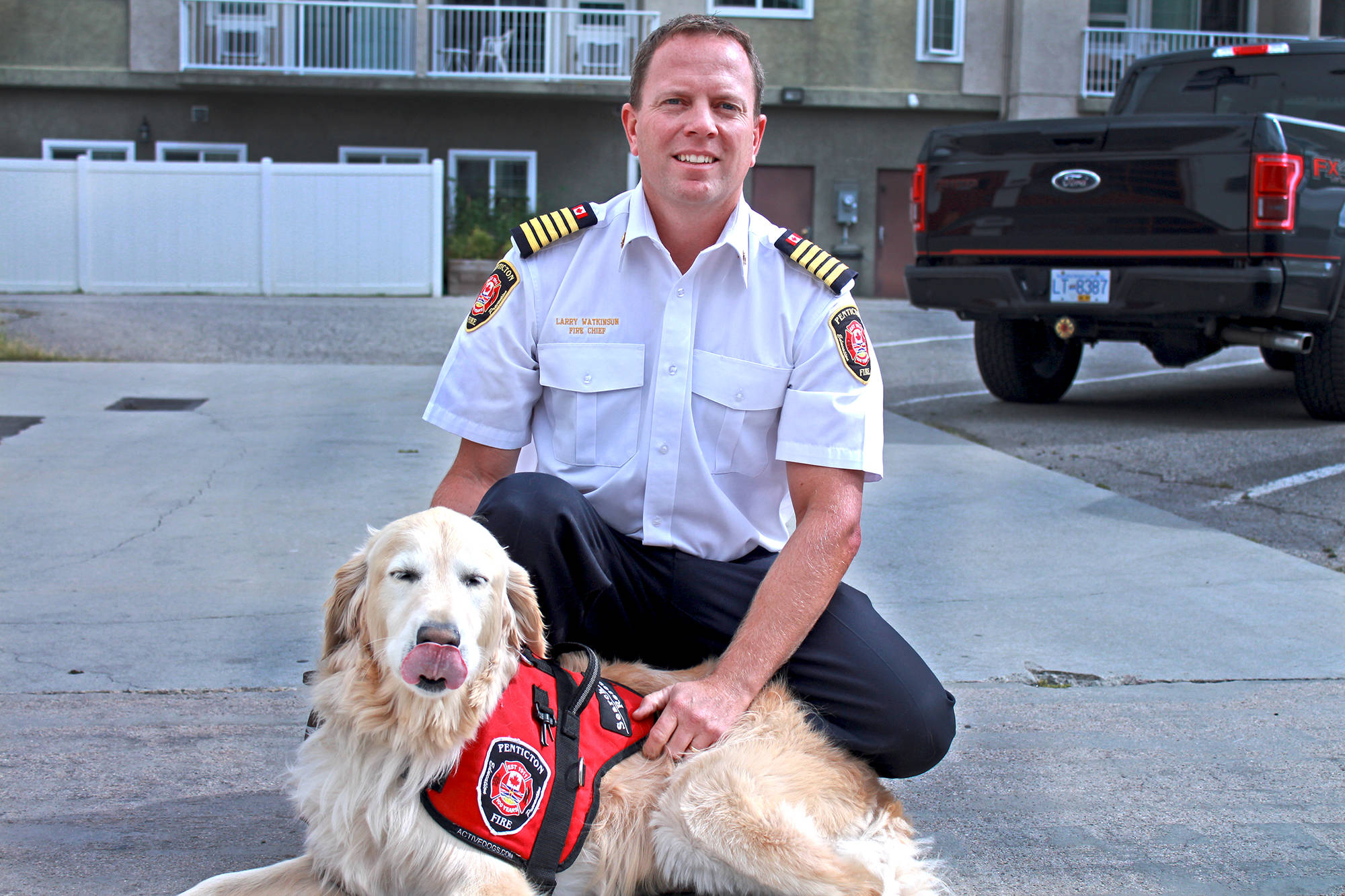 Penticton Fire Chief Larry Watkinson and his adorable sidekick, Sam the disaster dog, have returned home after roughly a week assisting in search and rescue efforts in the Bahamas, which were recently decimated by Hurricane Dorian. (Jordyn Thomson - Western News)