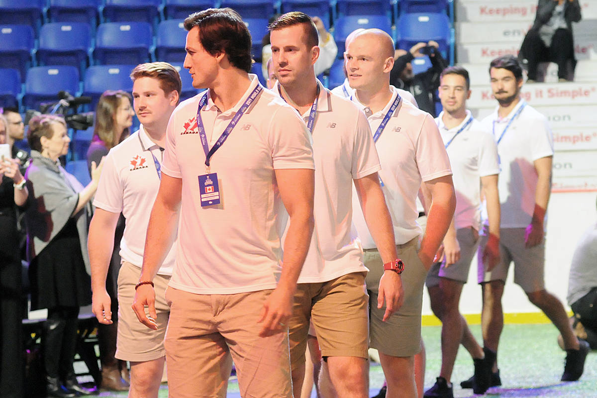 Team Canada made an entrance at the World Lacrosse Men's Indoor Championship opening ceremony Wednesday afternoon at the Langley Events Centre. (Dan Ferguson/Langley Advance Times)